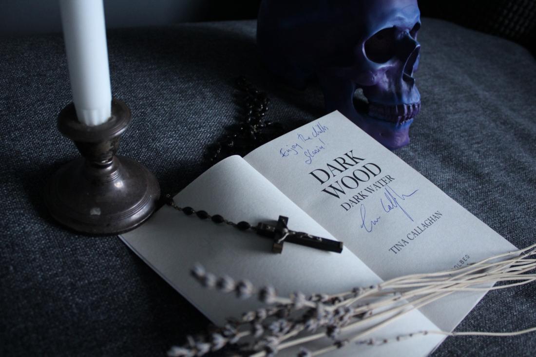 tina callaghan dark wood dark water YA horror signed book skulls crucifix